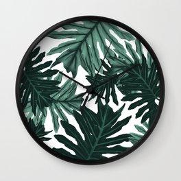 Philo Hope - Tropical Jungle Leaves Pattern #6 #tropical #decor #art #society6 Wall Clock