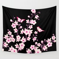 cherry blossoms Wall Tapestries featuring Cherry Blossoms by Baydur Mandalaart