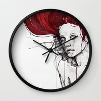 in the flesh Wall Clocks featuring in the flesh by agnes-cecile