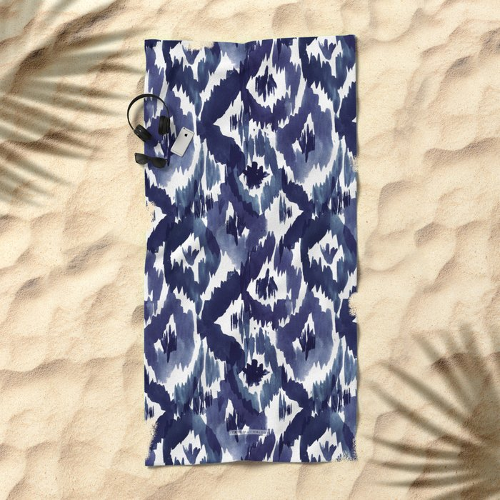 Indigo Blue Ikat Beach Towel