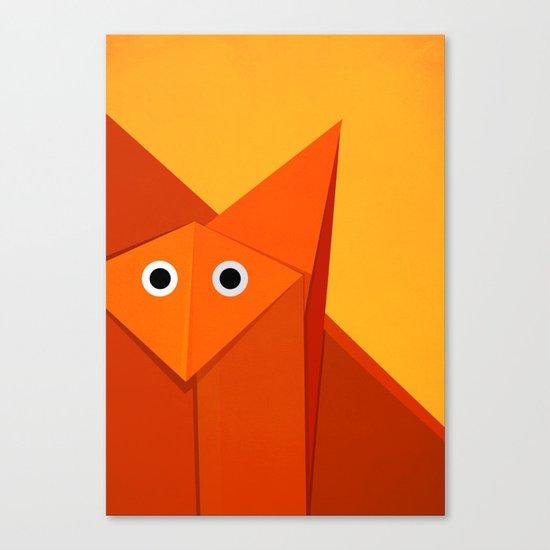 Geometric Cute Origami Fox Portrait Canvas Print