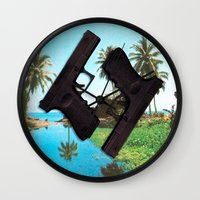 guns Wall Clocks featuring guns by Hoeroine