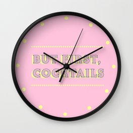Pastel Pink Party Cocktails Wall Clock