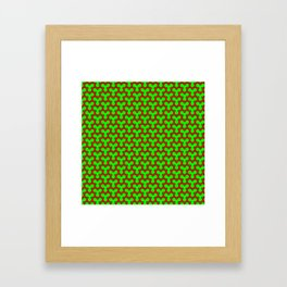 Christmas Triangles - Red on Green Framed Art Print