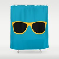 sunglasses Shower Curtains featuring Yellow Sunglasses by Color and Patterns