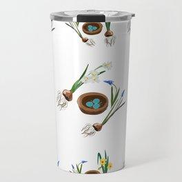 Easter flowers and birds nest pattern Travel Mug
