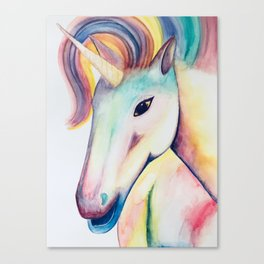Rainbow Unicorn Watercolour Canvas Print