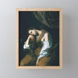 Artemisia Gentileschi - Mary Magalene as Melancholy Framed Mini Art Print