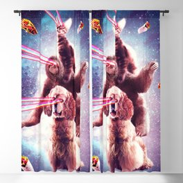 Laser Eyes Space Cat Riding Sloth, Dog - Rainbow Blackout Curtain