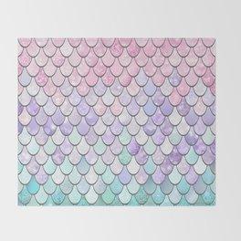 Mermaid Pastel Pink Purple Aqua Teal Throw Blanket