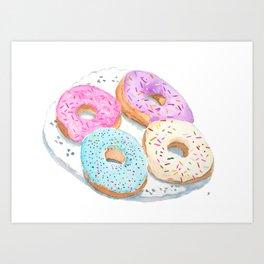 Four Donuts Art Print
