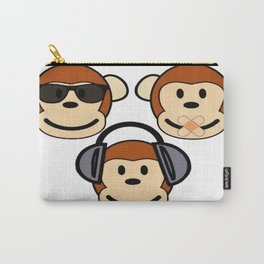 Illustration of Cartoon Three Monkeys - See, Hear, Speak No Evil Carry-All Pouch