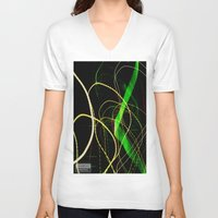sonic V-neck T-shirts featuring Sonic Waves by Jonathan Wright Productions