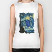 marauders Biker Tanks featuring Tardis Dr. Who Starry Night by neutrone