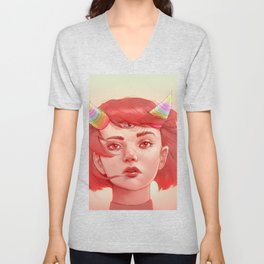 Red girl with horns Unisex V-Neck