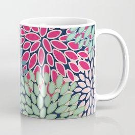 Bold Floral Pattern, Blue, Pink, Magenta, Teal, Green Coffee Mug