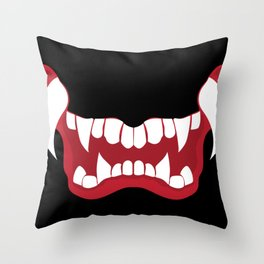 Red Mouth with sharp teeth Monster Halloween Throw Pillow