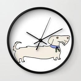 Dacshund with Holly Wall Clock