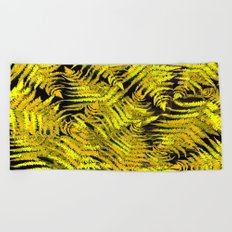 Ferns on a black background - #society6 #buyart Beach Towel