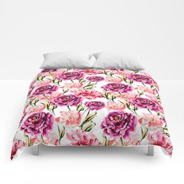 Peonies and Eustomas - flower pattern no2 Comforters