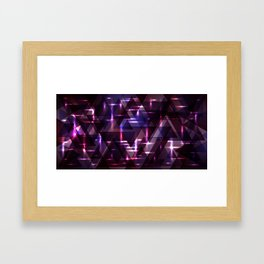 Spring pastel blueberry and aubergine shiny triangles. Framed Art Print
