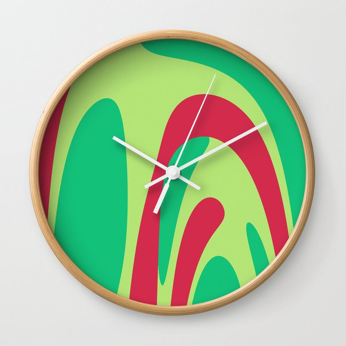 Nouveau Retro Graphic Red And Green Wall Clock By Anthonyross