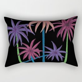 Neon Palms on Black Rectangular Pillow