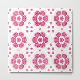 Sweety Pink Floral Pattern Metal Print