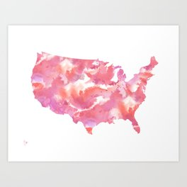 Pink USA Watercolour Map Art Print