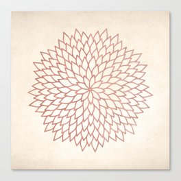Mandala Flower Rose Gold on Cream Canvas Print