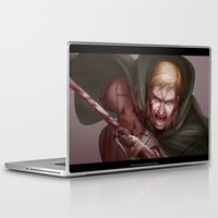 shingeki no kyojin Laptop & iPad Skins featuring Shingeki no Kyojin - Erwin Smith by Paleblood