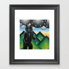 Geometric Black Bear Framed Art Print