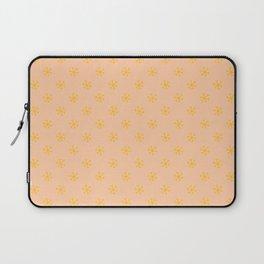 Amber Orange on Deep Peach Orange Snowflakes Laptop Sleeve
