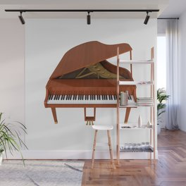 Grand Piano with Wood Finish Wall Mural