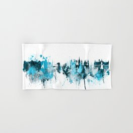 Budapest Hungary Monochrome Blue Skyline Hand & Bath Towel