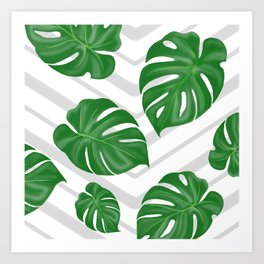 Monstera on chevrons Art Print