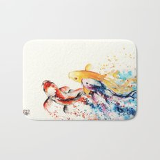 Underwater rainbow : the goldfishes Bath Mat