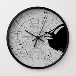 Dublin Street Map Grey Gray Wall Clock