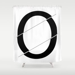 """""""Sliced Collection"""" - Minimal Letter O Print Shower Curtain"""