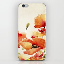 Poppy Flower Meadow- Floral Summer lllustration iPhone Skin