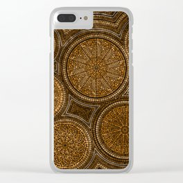 Dot Art Circles Abstract Browns and gold Clear iPhone Case
