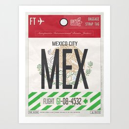 Vintage Mexico City Luggage Tag Poster Art Print