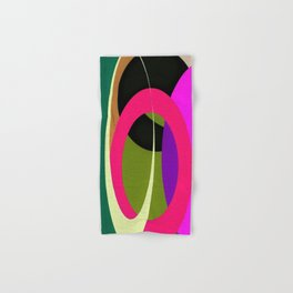 Abstract Composition in Green and Fuchsia Hand & Bath Towel