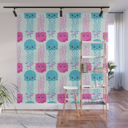 Pattern Of Jellyfishes, Sea Life - Pink Blue Wall Mural