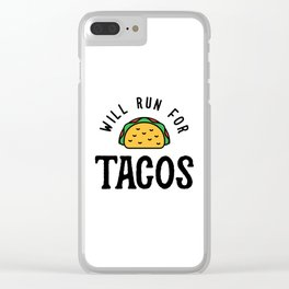 Will Run For Tacos v2 Clear iPhone Case