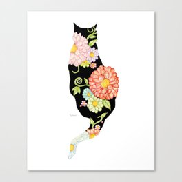 Exotic Floral Black Cat Silhouette Canvas Print
