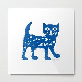 Navy blue cat pattern Metal Print