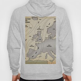 British Isles vintage weather map poster Hoody