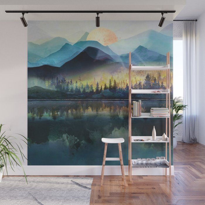 Mountain Lake Under Sunrise Wall Mural