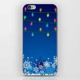 Christmas lights and snowflakes iPhone Skin